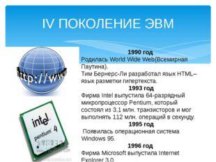 IV ПОКОЛЕНИЕ ЭВМ 1990 год Родилась World Wide Web(Всемирная Паутина). Тим Бер