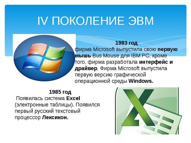 IV ПОКОЛЕНИЕ ЭВМ 1983 год фирма Microsoft выпустила свою первую мышь Bus Mous...