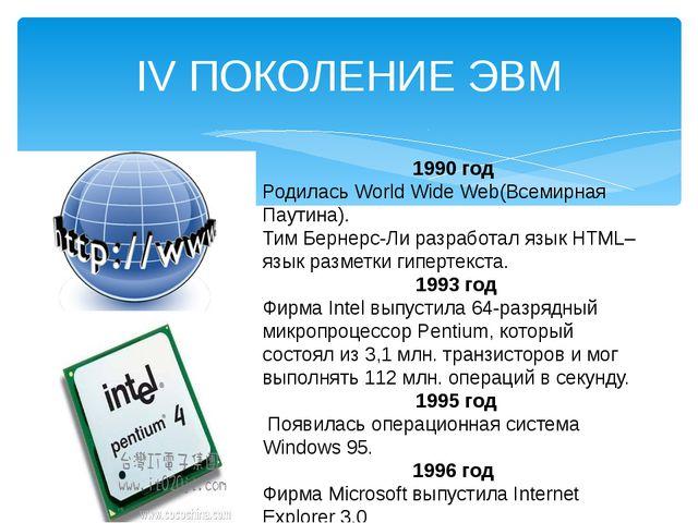 IV ПОКОЛЕНИЕ ЭВМ 1990 год Родилась World Wide Web(Всемирная Паутина). Тим Бер...