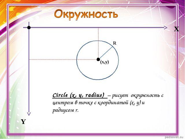 Х Y Circle (x, y, radius) – рисует окружность с центром в точке с координатой...