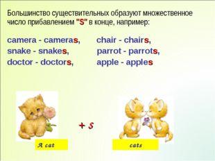 """Большинство существительных образуют множественное число прибавлением """"S"""" в к"""