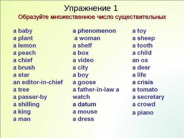 Упражнение 1 Образуйте множественное число существительных