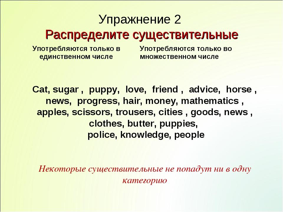 Упражнение 2 Распределите существительные Cat, sugar , puppy, love, friend ,...