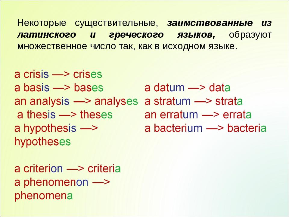 Некоторые существительные, заимствованные из латинского и греческого языков,...