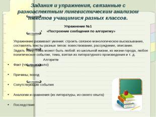 Задания и упражнения, связанные с разноаспектным лингвистическим анализом тек