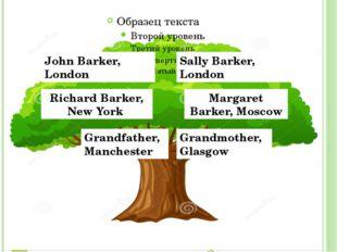 John Barker, London Sally Barker, London Richard Barker, New York Margaret B