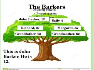 John Barker, 12 Sally, 6 Richard, 37 Margaret, 35 Grandfather, 63 Grandmother