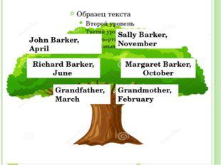 John Barker, April Sally Barker, November Richard Barker, June Margaret Bark