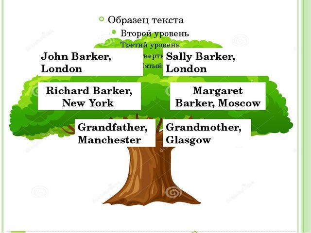 John Barker, London Sally Barker, London Richard Barker, New York Margaret B...