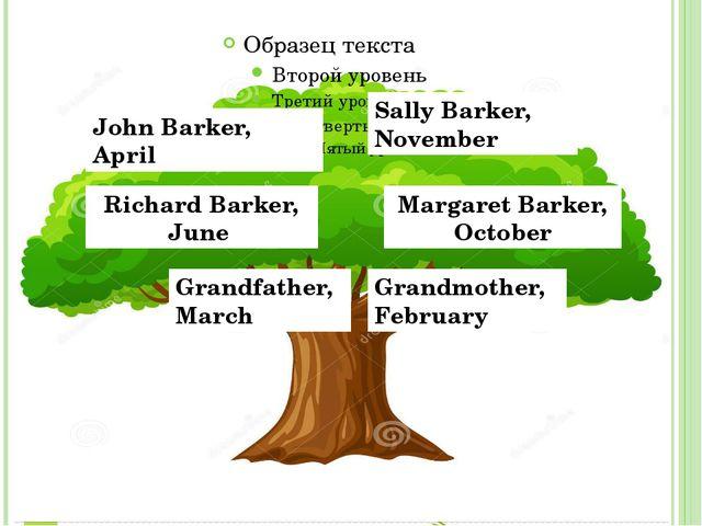 John Barker, April Sally Barker, November Richard Barker, June Margaret Bark...