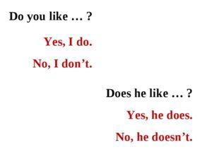 Do you like … ? Yes, I do. No, I don't. Does he like … ? Yes, he does. No, he
