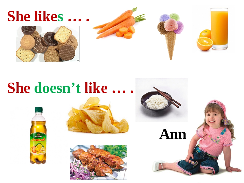 Ann She likes … . She doesn't like … .