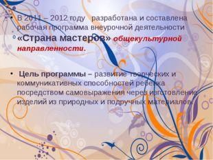 В 2011 – 2012 году разработана и составлена рабочая программа внеурочной деят