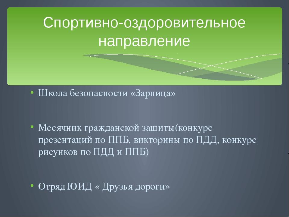 Школа безопасности «Зарница» Месячник гражданской защиты(конкурс презентаций...
