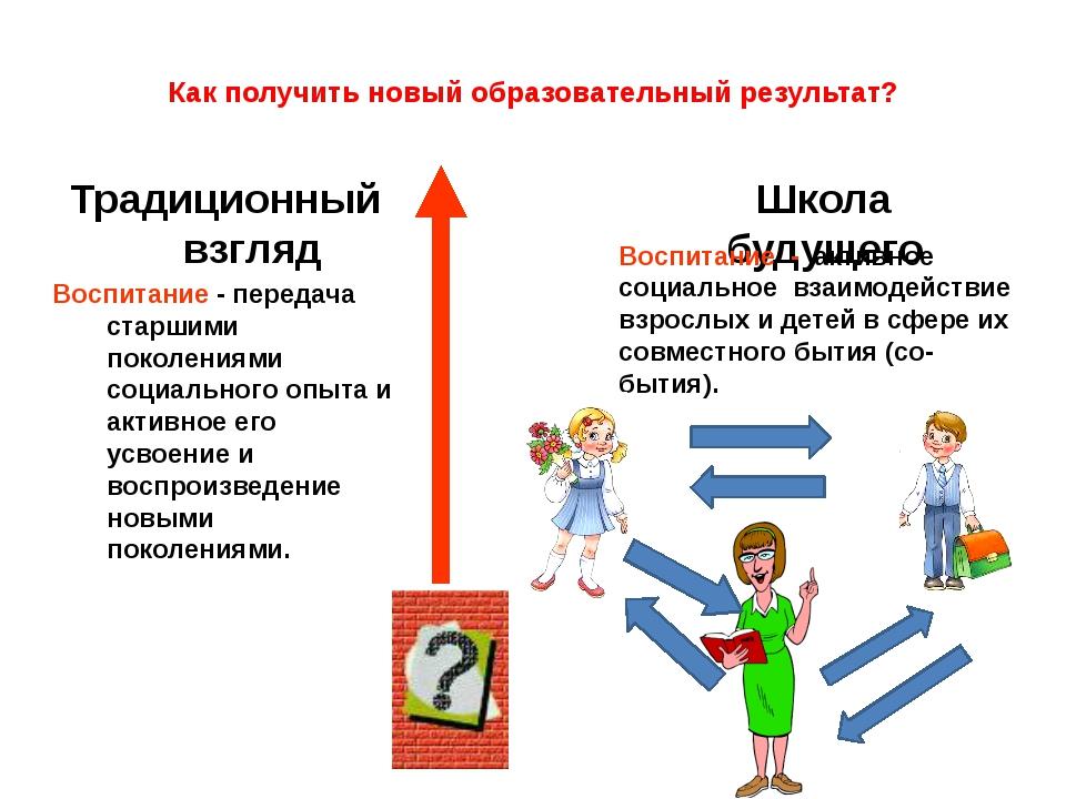 Как получить новый образовательный результат? Традиционный взгляд Воспитание...