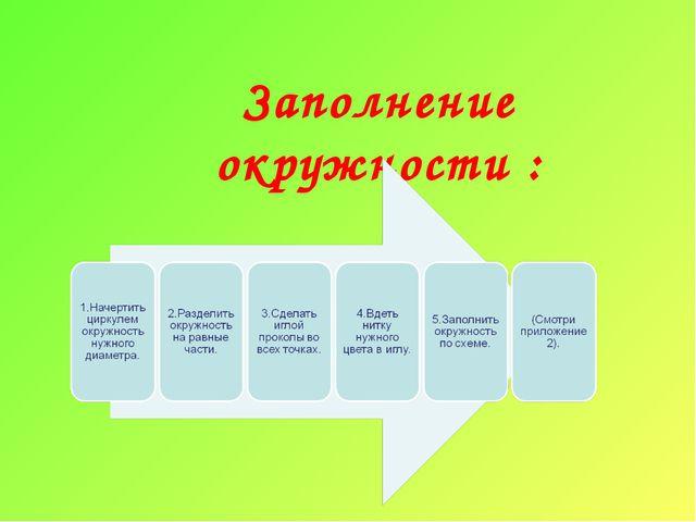 Заполнение окружности :