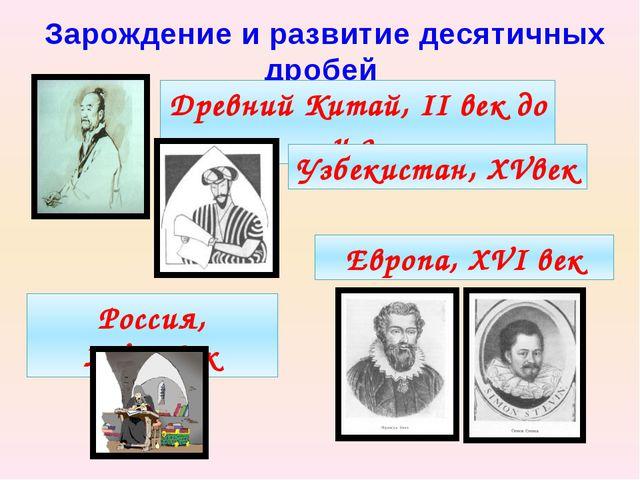 Зарождение и развитие десятичных дробей Древний Китай, II век до н.э. Узбекис...