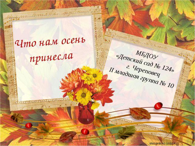Что нам осень принесла МБДОУ «Детский сад № 124» г. Череповец II младшая груп...