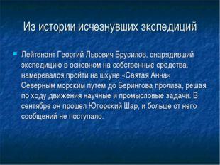 Из истории исчезнувших экспедиций Лейтенант Георгий Львович Брусилов, снаряди