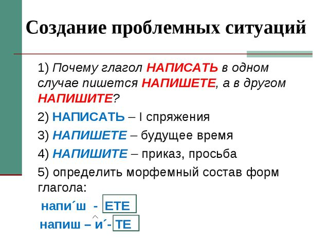 Создание проблемных ситуаций 1) Почему глагол НАПИСАТЬ в одном случае пишетс...