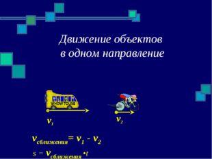 Движение объектов в одном направление v1 v2 vсближения= v1 - v2 s = vсближени