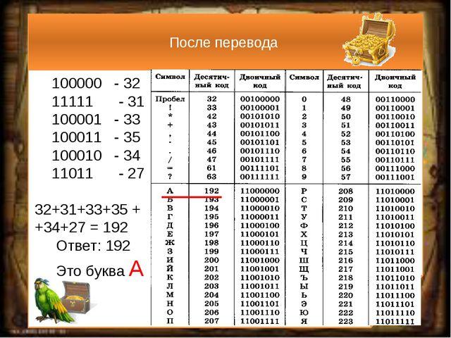 После перевода 100000 - 32 11111 - 31 100001 - 33 100011 - 35 100010 - 34 11...