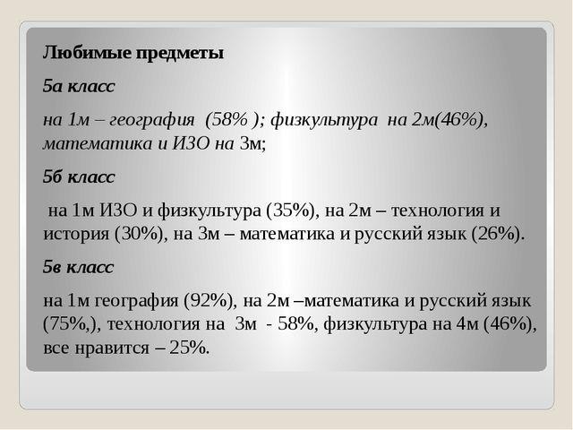 Любимые предметы 5а класс на 1м – география (58% ); физкультура на 2м(46%), м...