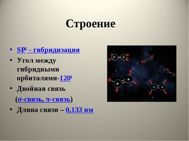 Строение SP2 - гибридизация Угол между гибридными орбиталями-1200 Двойная свя...
