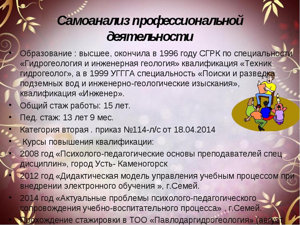Самоанализ профессиональной деятельности Образование : высшее, окончила в 199...