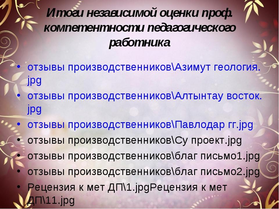 Итоги независимой оценки проф. компетентности педагогического работника отзыв...