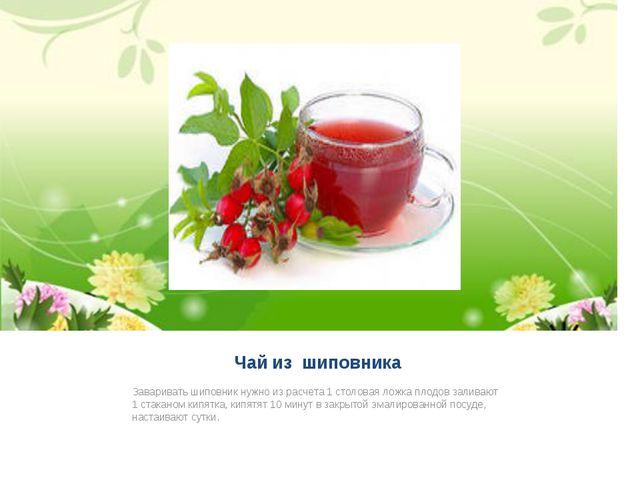 Чай из шиповника Заваривать шиповник нужно из расчета 1 столовая ложка плодов...
