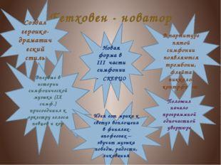 Бетховен - новатор Создал героико-драматический стиль Новая форма в III части