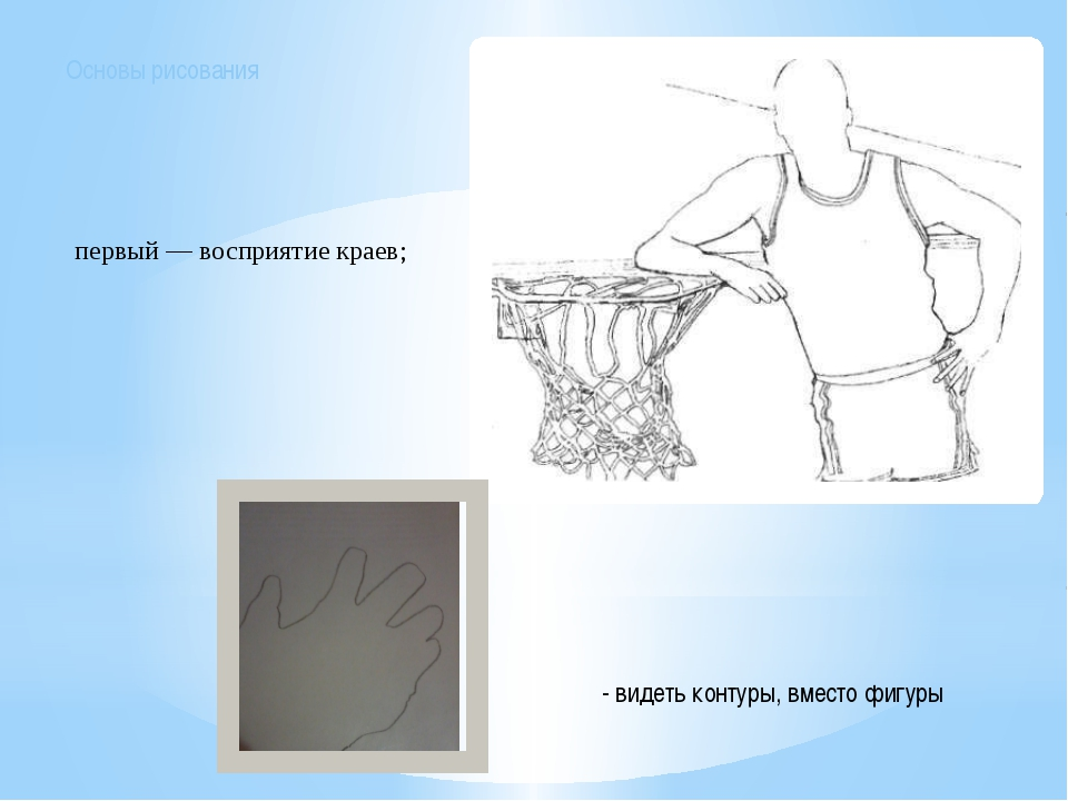 - видеть контуры, вместо фигуры первый — восприятие краев; Основы рисования