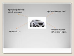 Профилактика двигателя «Холостой» ход Критерий при покупке: потребность семьи