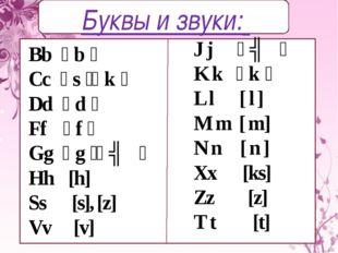 Буквы и звуки: J j [ʤ] K k [k] L l [ l ] M m [ m] N n [ n ] Xx [ks] Zz [