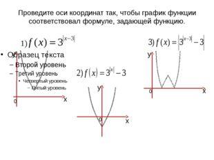 Проведите оси координат так, чтобы график функции соответствовал формуле, зад