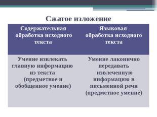 Сжатое изложение Содержательная обработка исходного текста Языковая обработка