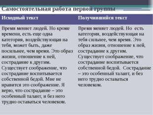 Самостоятельная работа первой группы Исходный текст Получившийся текст Время
