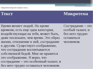 Определение микротем исходного текста Текст Микротема Время меняет людей. Но