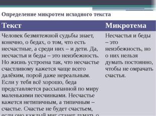 Определение микротем исходного текста Текст Микротема Человек безмятежной суд