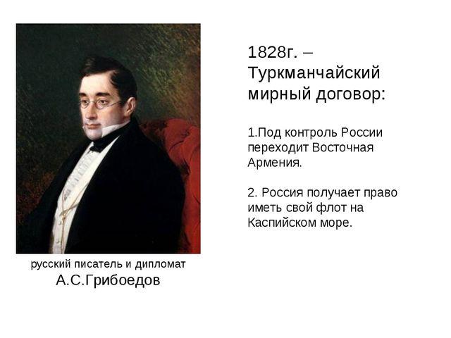 1828г. – Туркманчайский мирный договор: Под контроль России переходит Восточн...
