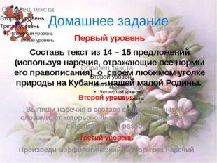 Домашнее задание Первый уровень Составь текст из 14 – 15 предложений (использ