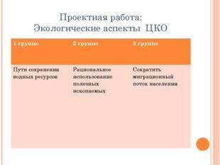 Проектная работа: Экологические аспекты ЦКО 1 группе 2 группе 3 группе Пути с