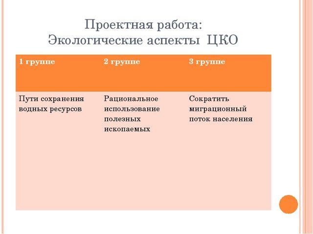 Проектная работа: Экологические аспекты ЦКО 1 группе 2 группе 3 группе Пути с...