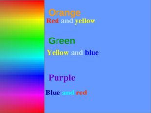 Orange Red and yellow Green Purple Blue and red СОСТАВНЫЕ ЦВЕТА Yellow and blue
