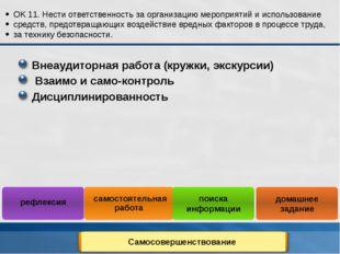 Внеаудиторная работа (кружки, экскурсии) Взаимо и само-контроль Дисциплиниров