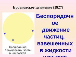 Броуновское движение (1827) Беспорядочное движение частиц, взвешенных в жидко