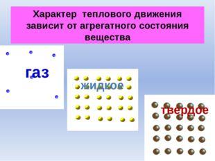 Характер теплового движения зависит от агрегатного состояния вещества газ тве