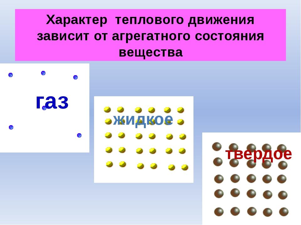 Характер теплового движения зависит от агрегатного состояния вещества газ тве...