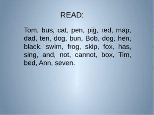READ: Tom, bus, cat, pen, pig, red, map, dad, ten, dog, bun, Bob, dog, hen, b